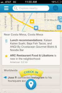 Foursquare Home screen on iOS